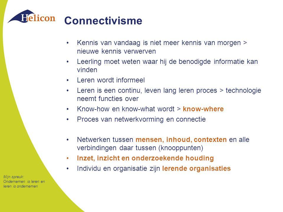 Connectivisme Kennis van vandaag is niet meer kennis van morgen > nieuwe kennis verwerven.