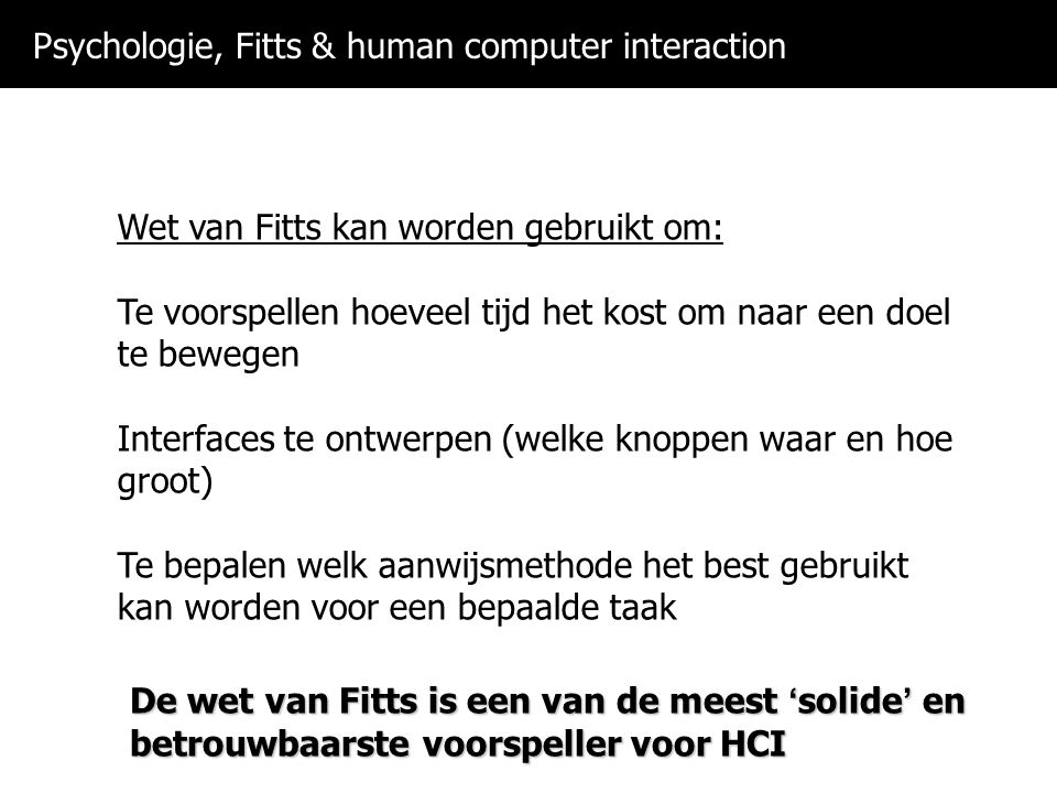 Psychologie, Fitts & human computer interaction
