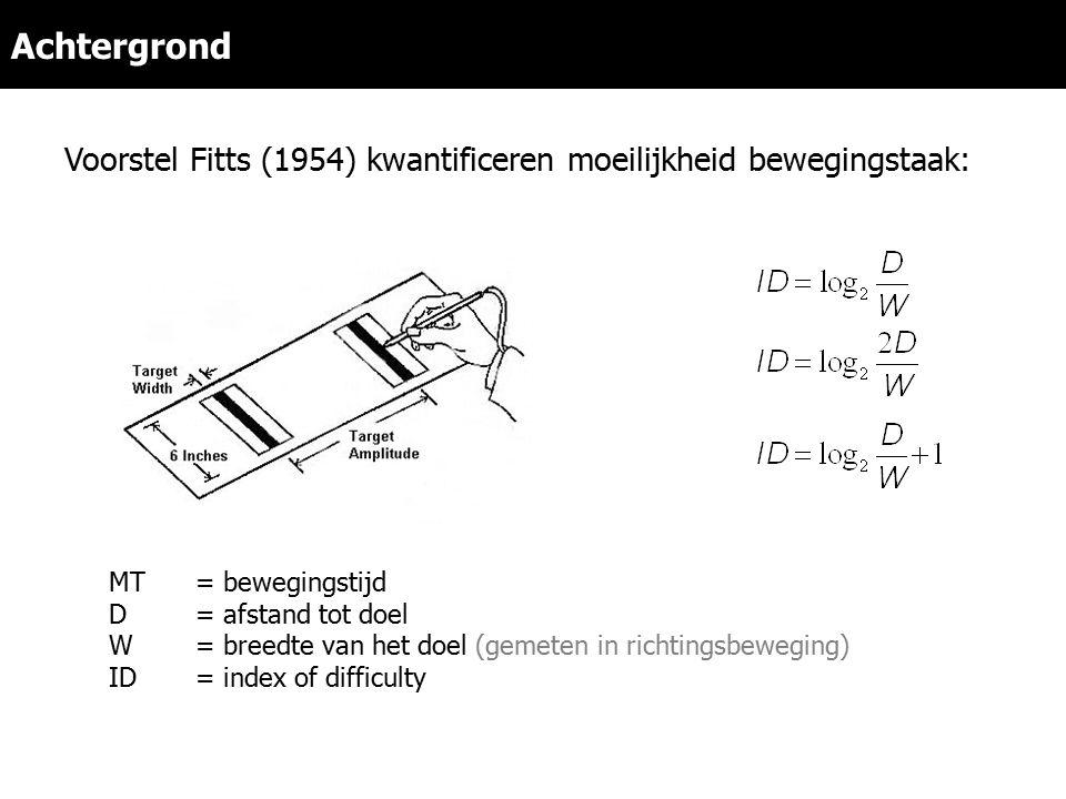 Achtergrond Voorstel Fitts (1954) kwantificeren moeilijkheid bewegingstaak: