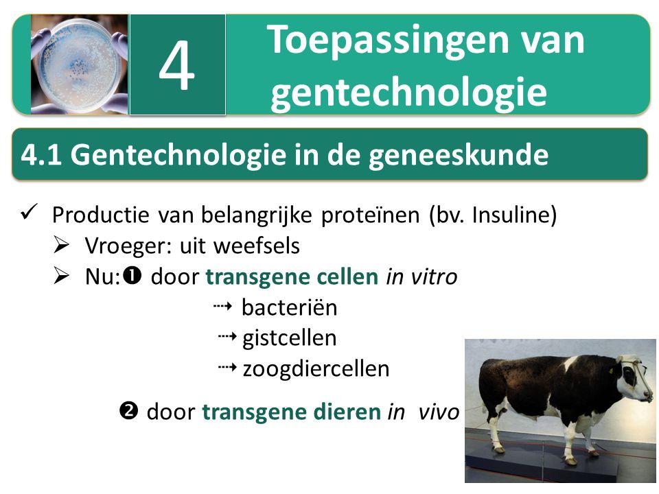 4 gentechnologie 4.1 Gentechnologie in de geneeskunde Toepassingen van