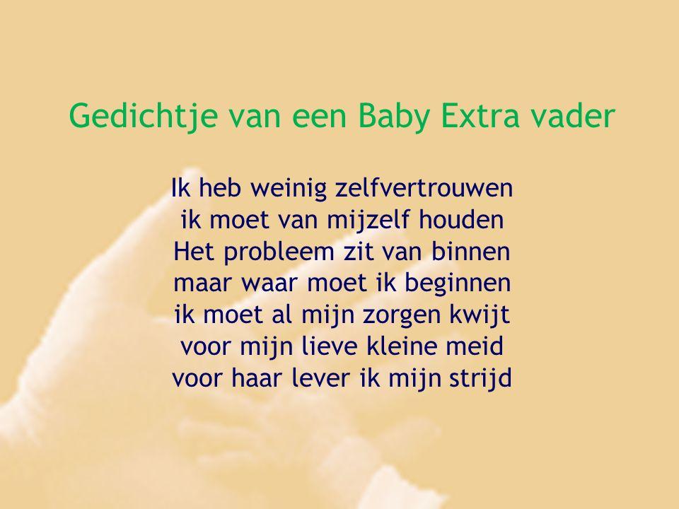 Gedichtje van een Baby Extra vader Ik heb weinig zelfvertrouwen ik moet van mijzelf houden Het probleem zit van binnen maar waar moet ik beginnen ik moet al mijn zorgen kwijt voor mijn lieve kleine meid voor haar lever ik mijn strijd