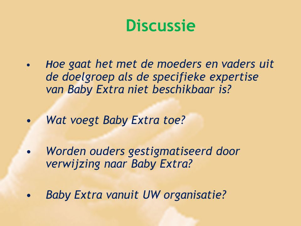 Discussie Wat voegt Baby Extra toe