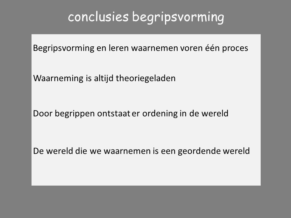conclusies begripsvorming