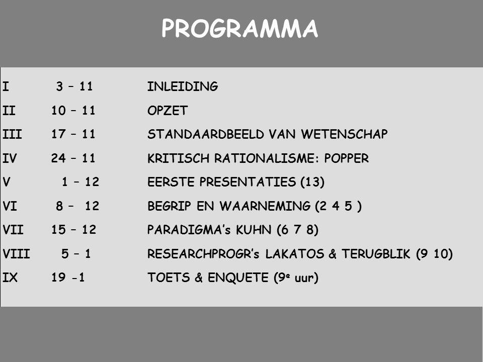 PROGRAMMA I 3 – 11 INLEIDING II 10 – 11 OPZET
