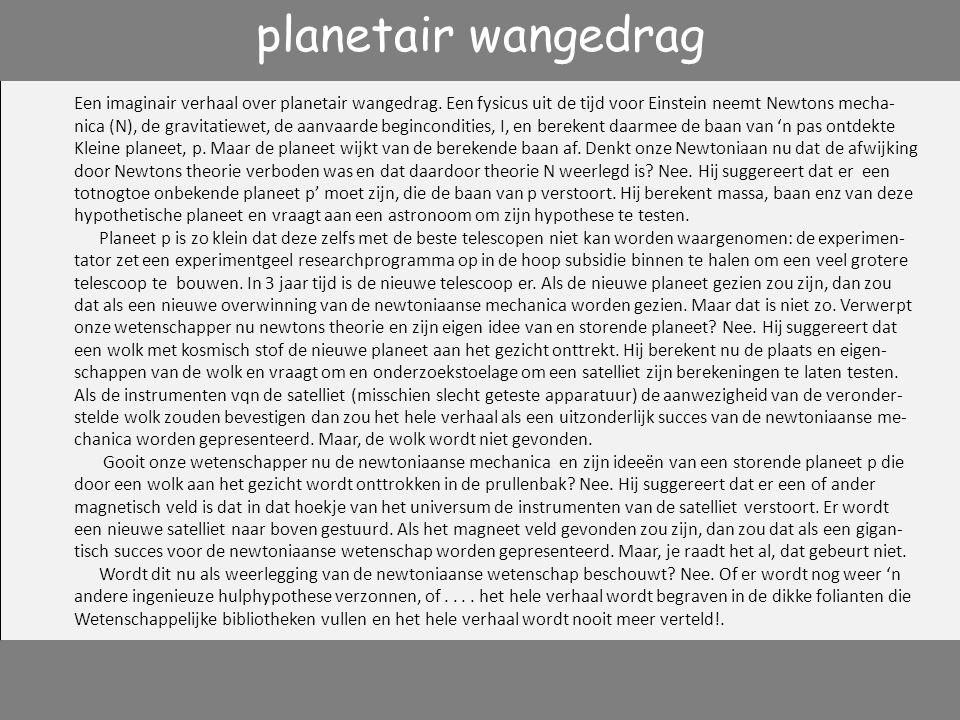 planetair wangedrag Een imaginair verhaal over planetair wangedrag. Een fysicus uit de tijd voor Einstein neemt Newtons mecha-