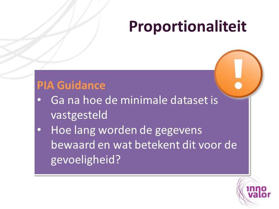 Proportionaliteit PIA Guidance