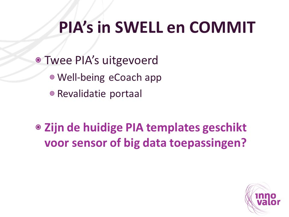 PIA's in SWELL en COMMIT