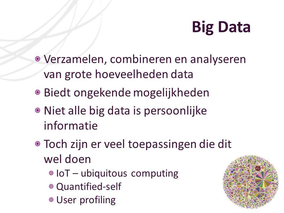 Big Data Verzamelen, combineren en analyseren van grote hoeveelheden data. Biedt ongekende mogelijkheden.