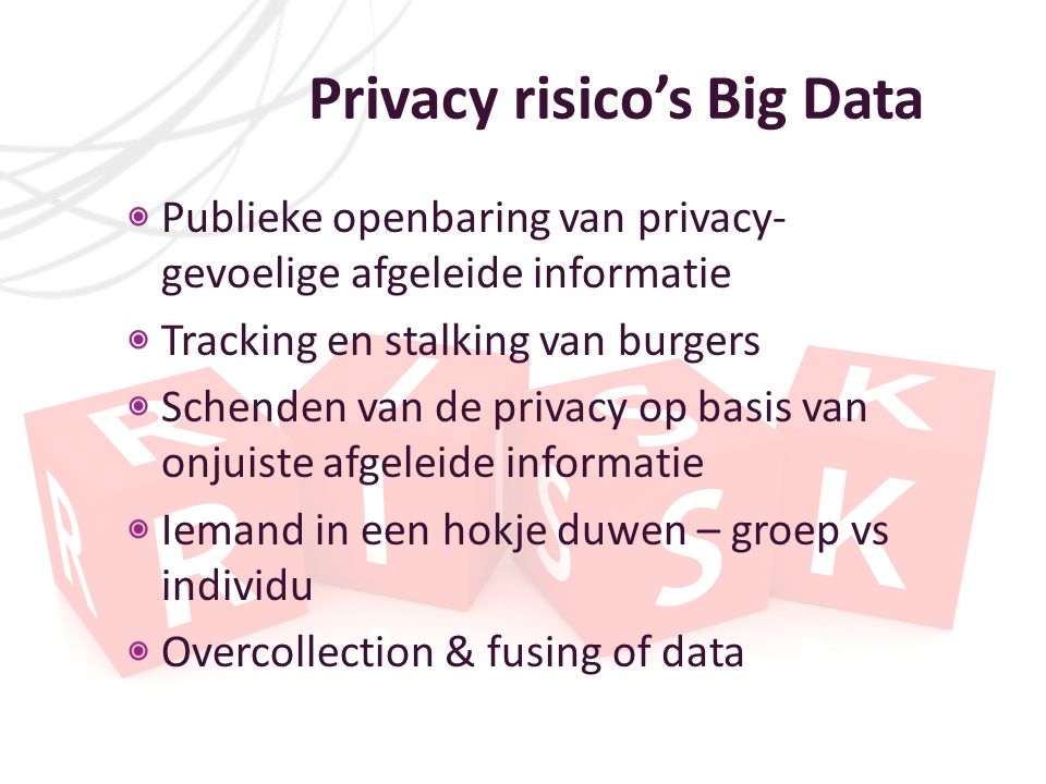 Privacy risico's Big Data