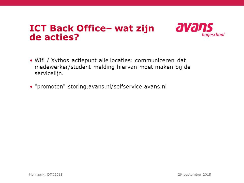 ICT Back Office– wat zijn de acties