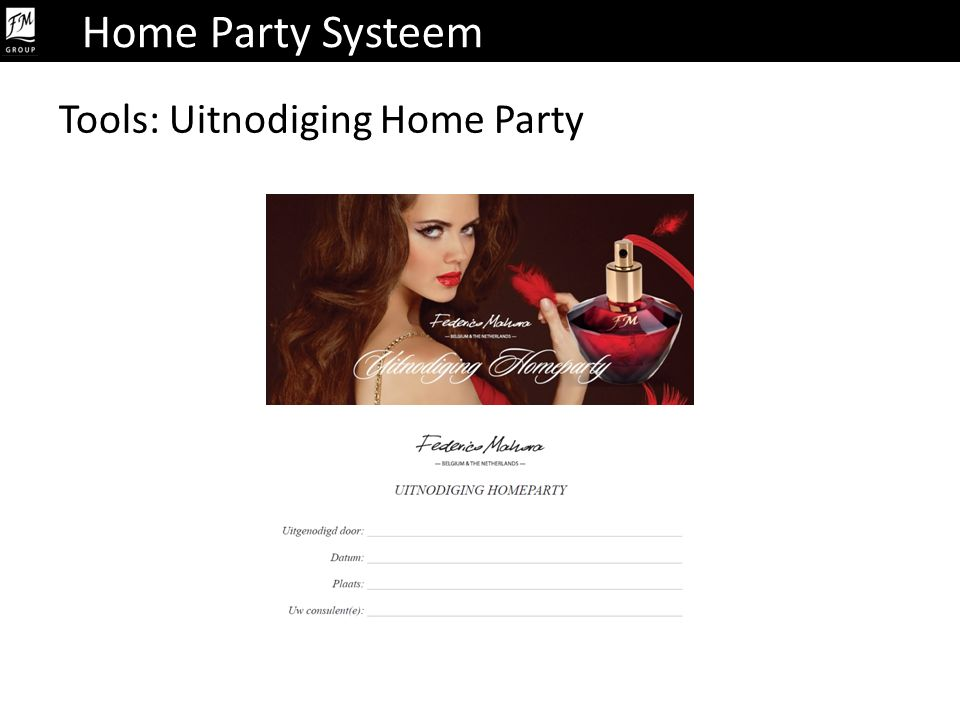 Home Party Systeem Tools: Uitnodiging Home Party