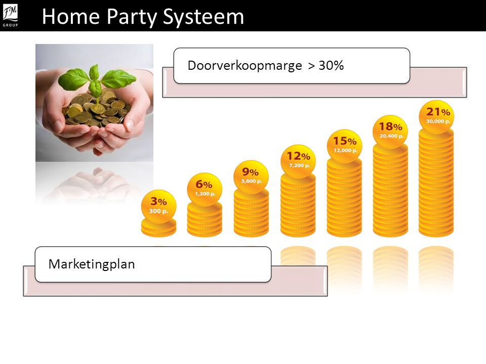 Home Party Systeem Doorverkoopmarge > 30% Marketingplan