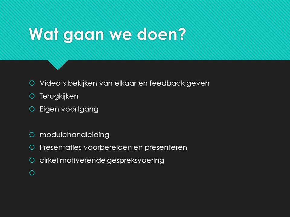 Wat gaan we doen Video's bekijken van elkaar en feedback geven