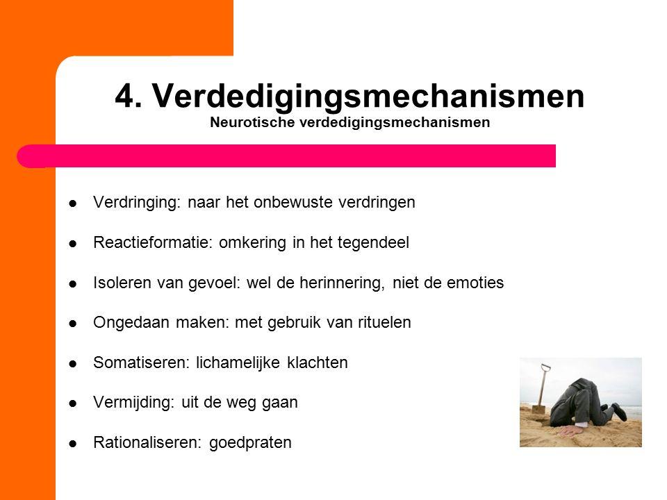 4. Verdedigingsmechanismen Neurotische verdedigingsmechanismen