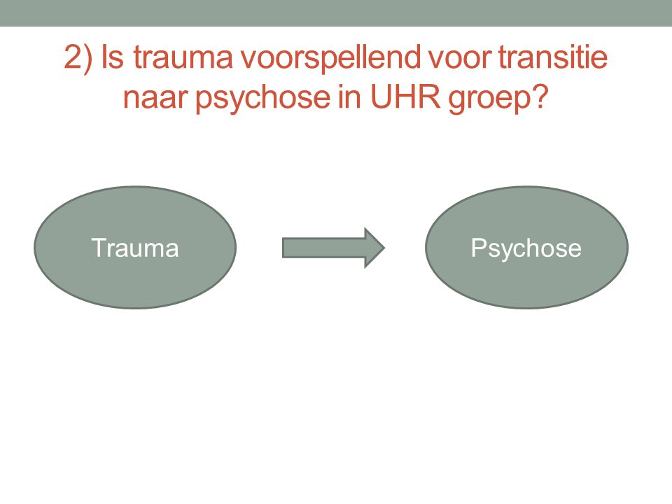 2) Is trauma voorspellend voor transitie naar psychose in UHR groep