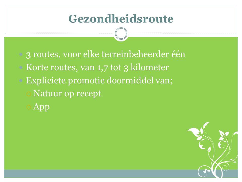 Gezondheidsroute 3 routes, voor elke terreinbeheerder één