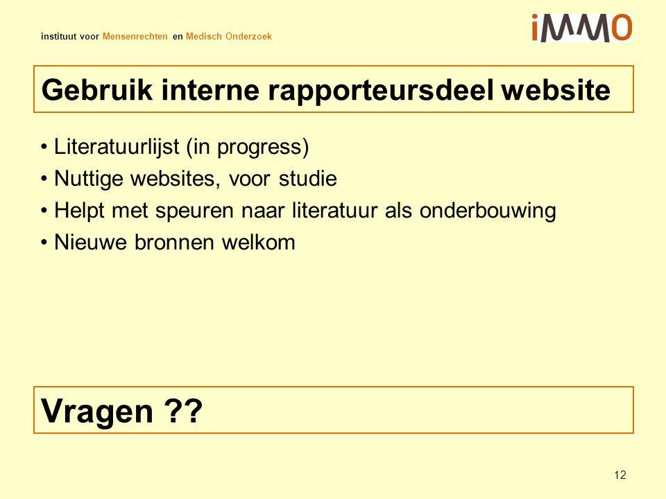 Gebruik interne rapporteursdeel website