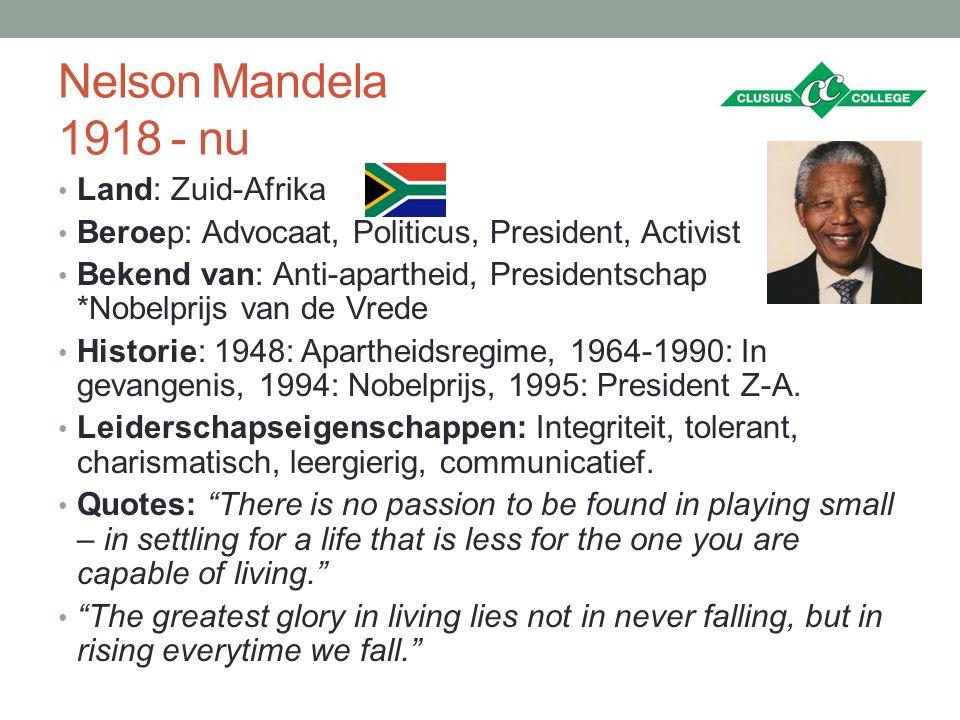 Nelson Mandela 1918 - nu Land: Zuid-Afrika