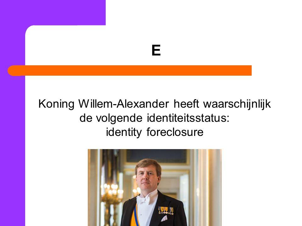 E Koning Willem-Alexander heeft waarschijnlijk de volgende identiteitsstatus: identity foreclosure.