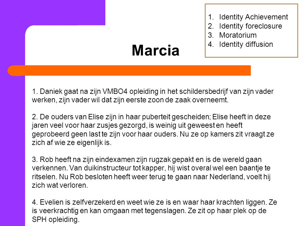 Marcia Identity Achievement Identity foreclosure Moratorium