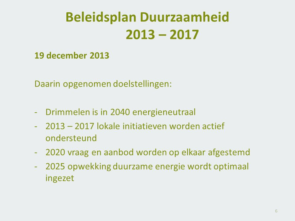 Beleidsplan Duurzaamheid 2013 – 2017