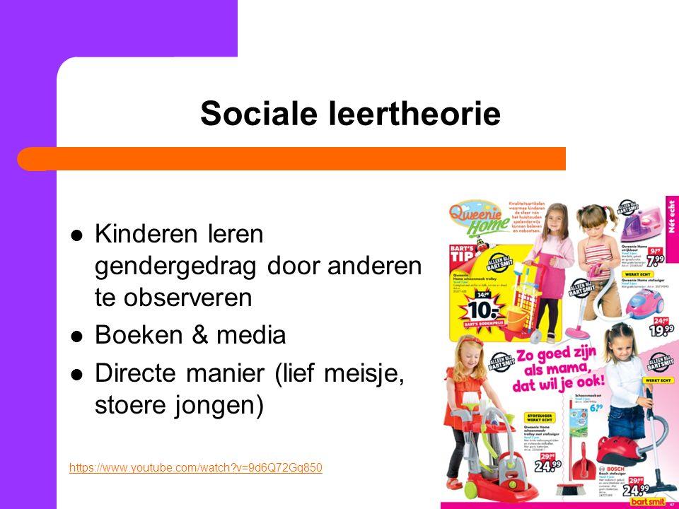 Sociale leertheorie Kinderen leren gendergedrag door anderen te observeren. Boeken & media. Directe manier (lief meisje, stoere jongen)