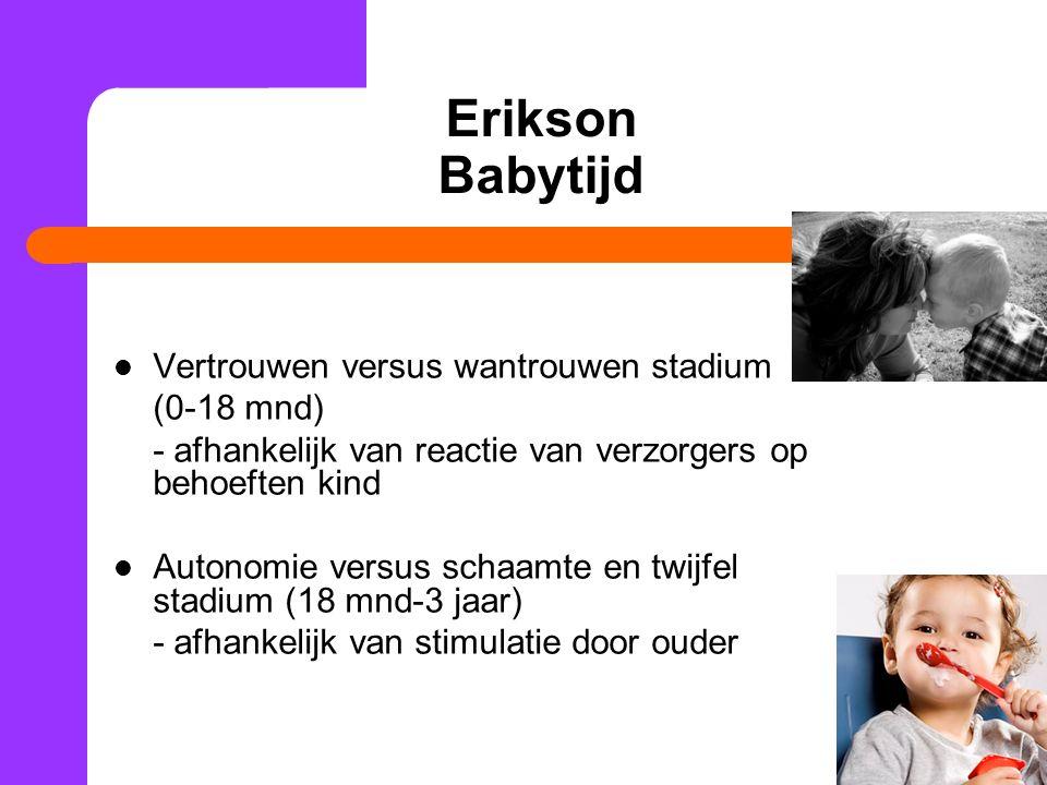 Erikson Babytijd Vertrouwen versus wantrouwen stadium (0-18 mnd)