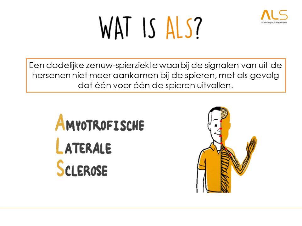 Een dodelijke zenuw-spierziekte waarbij de signalen van uit de hersenen niet meer aankomen bij de spieren, met als gevolg dat één voor één de spieren uitvallen.