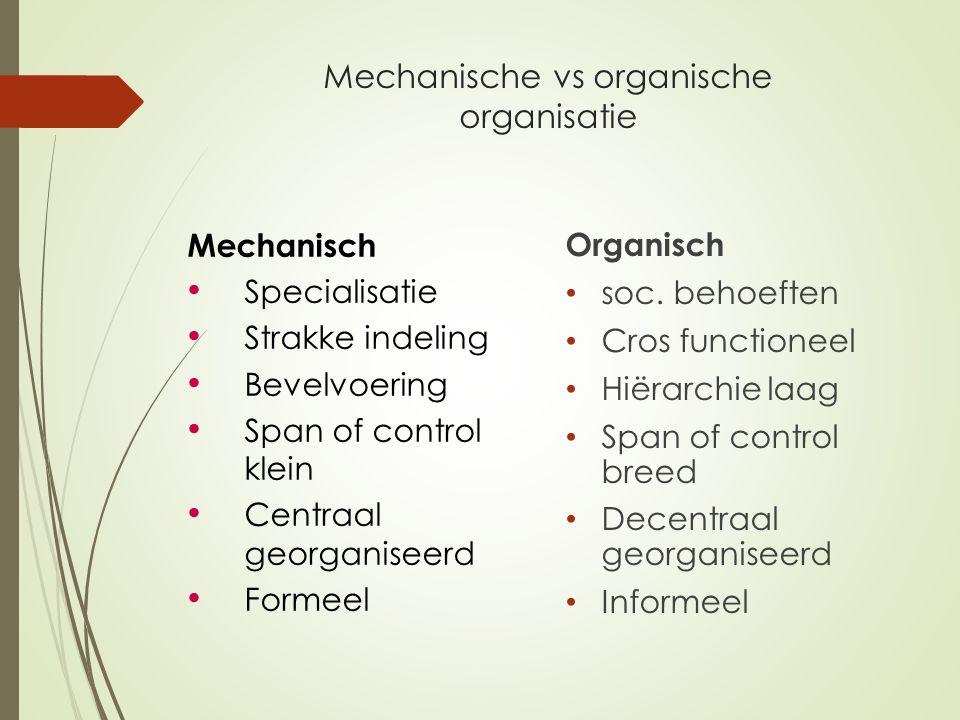 Mechanische vs organische organisatie