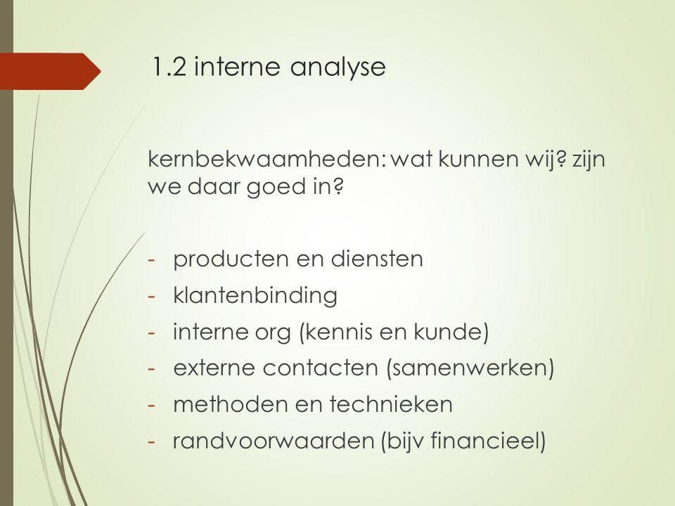 1.2 interne analyse kernbekwaamheden: wat kunnen wij zijn we daar goed in producten en diensten.