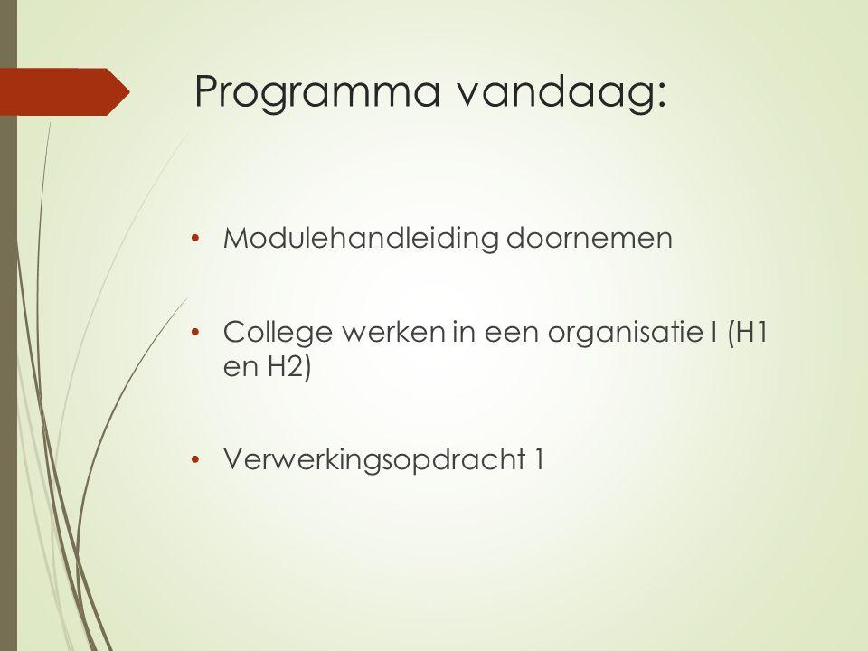 Programma vandaag: Modulehandleiding doornemen