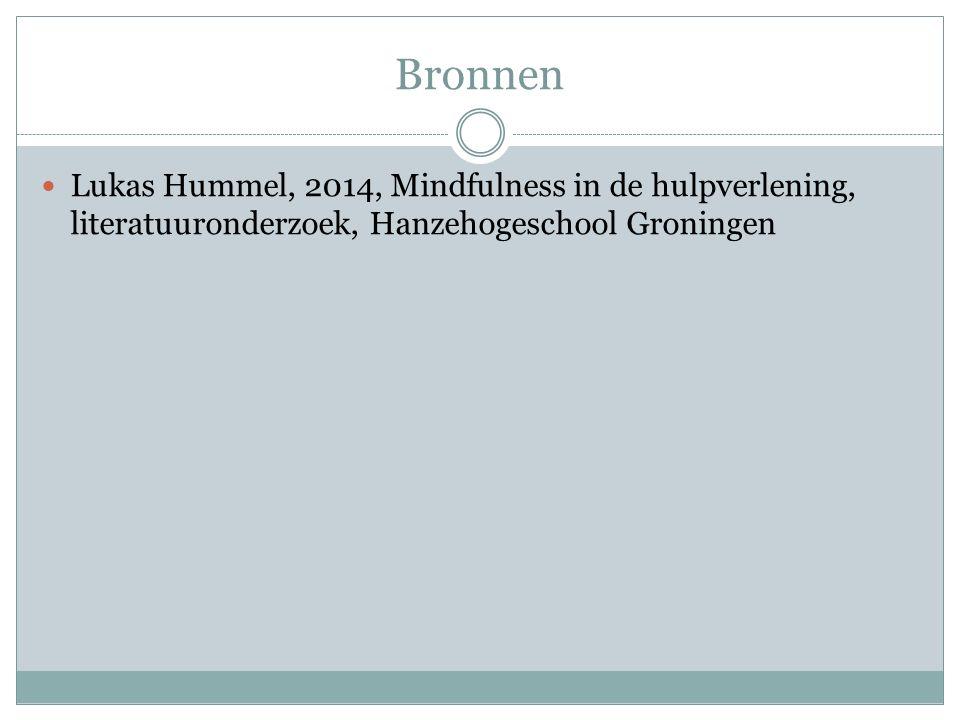 Bronnen Lukas Hummel, 2014, Mindfulness in de hulpverlening, literatuuronderzoek, Hanzehogeschool Groningen.