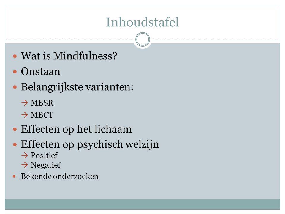 Inhoudstafel Wat is Mindfulness Onstaan Belangrijkste varianten: