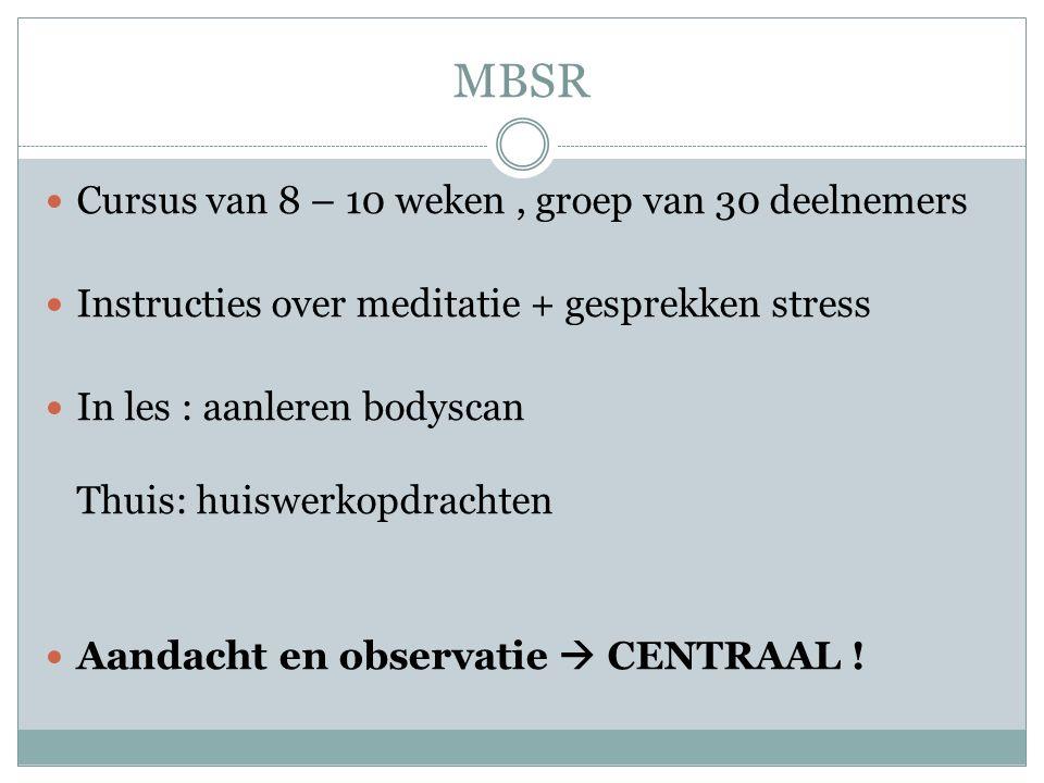MBSR Cursus van 8 – 10 weken , groep van 30 deelnemers
