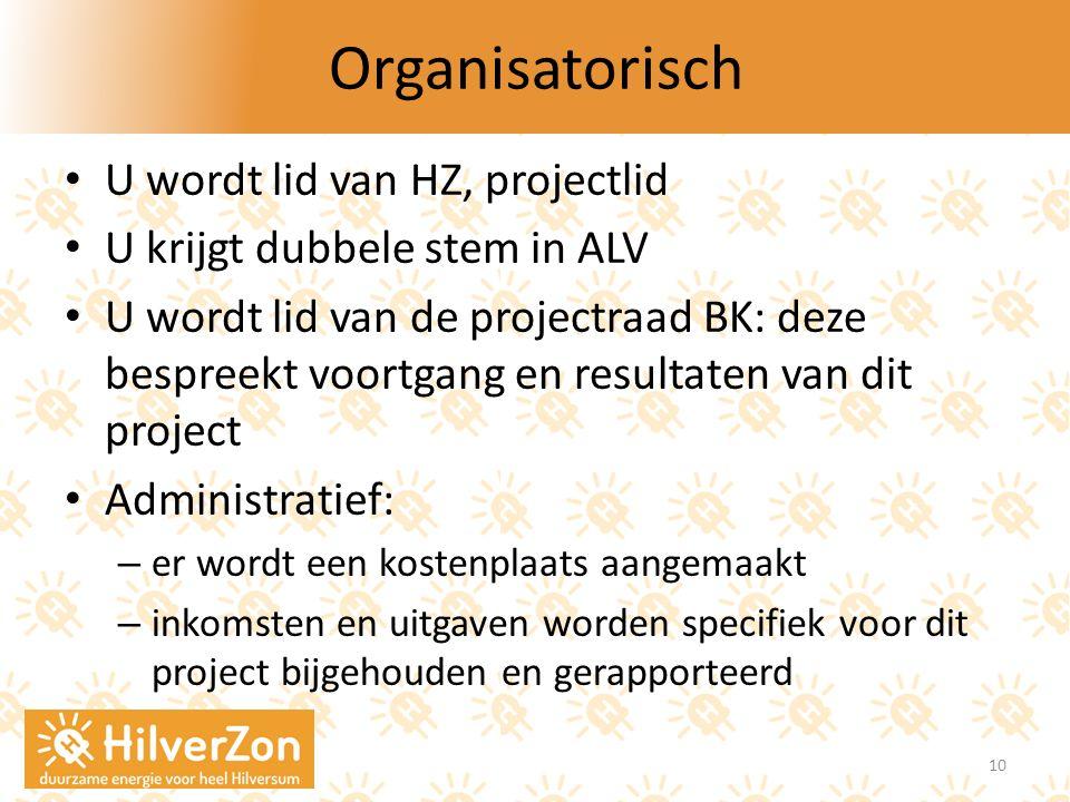 Organisatorisch U wordt lid van HZ, projectlid