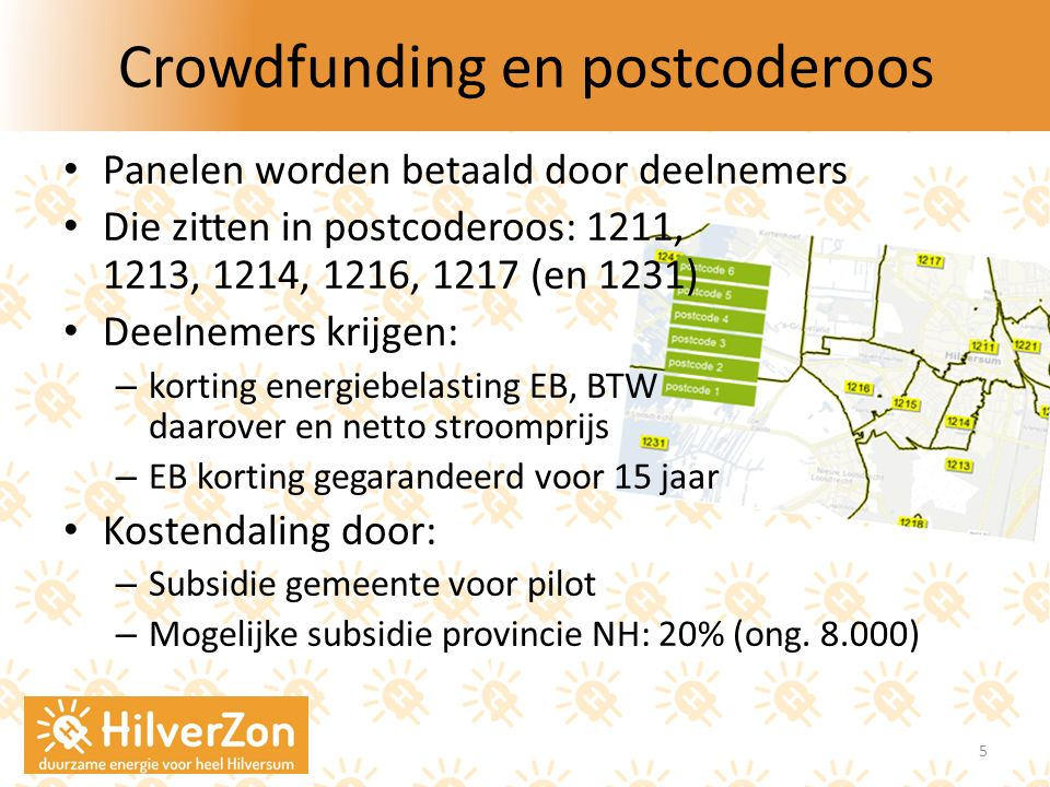 Crowdfunding en postcoderoos