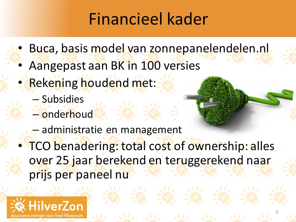 Financieel kader Buca, basis model van zonnepanelendelen.nl