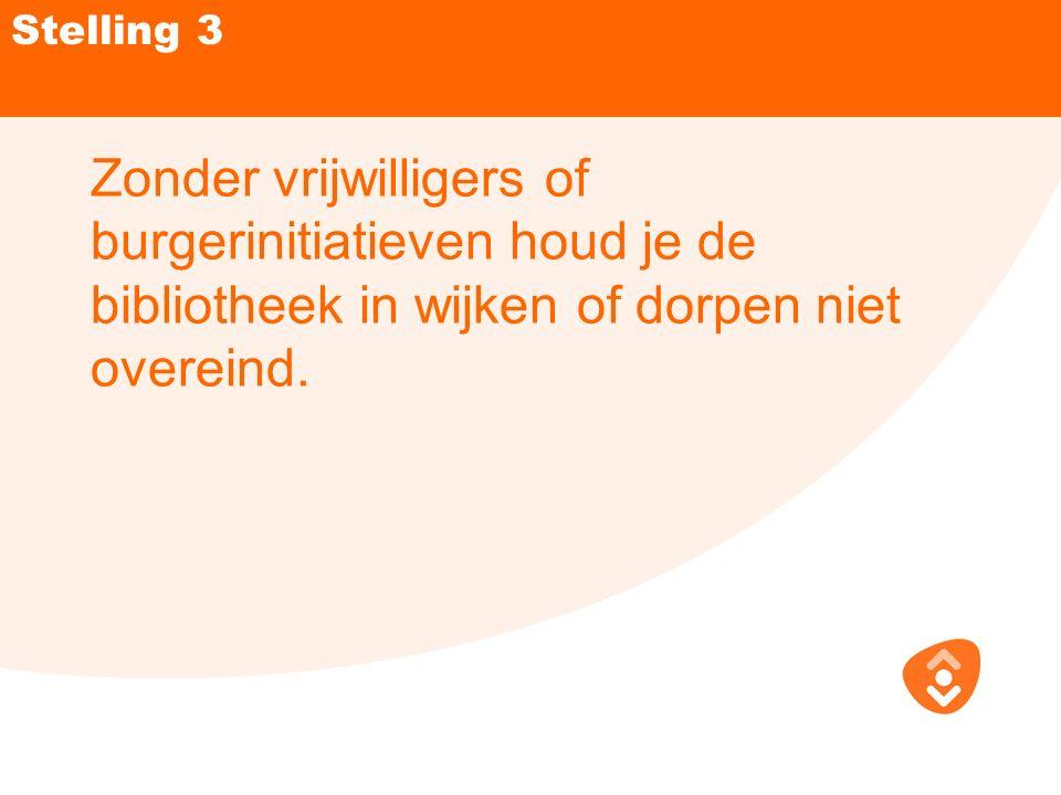 Stelling 3 Zonder vrijwilligers of burgerinitiatieven houd je de bibliotheek in wijken of dorpen niet overeind.