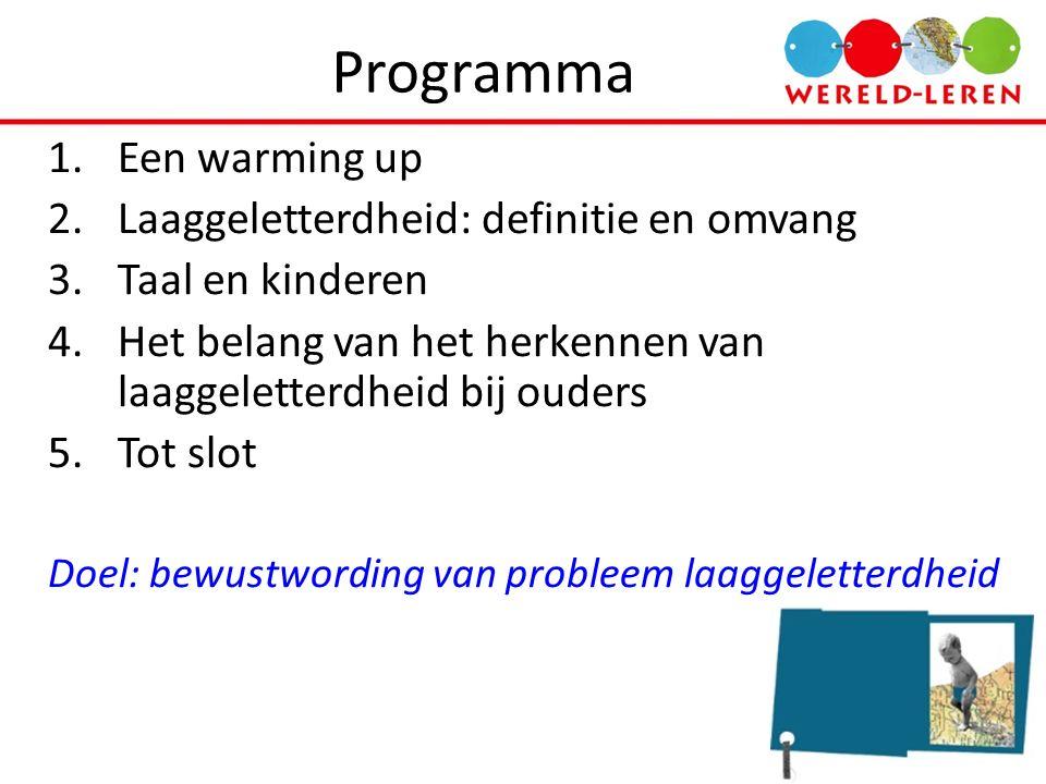 Programma Een warming up Laaggeletterdheid: definitie en omvang