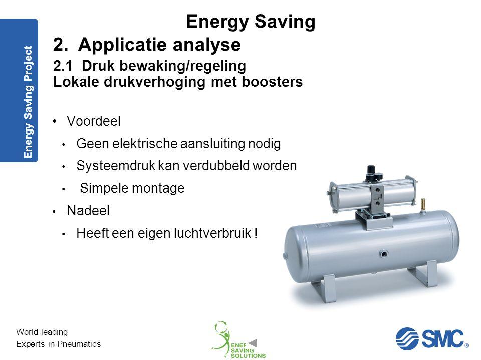 2. Applicatie analyse 2.1 Druk bewaking/regeling Lokale drukverhoging met boosters. Energy Saving Project.