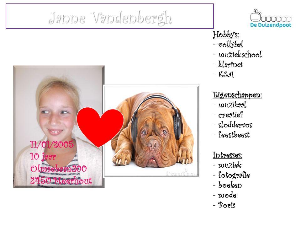 Janne Vandenbergh 11/01/2005 10 jaar Olmsebaan200 2450 Meerhout