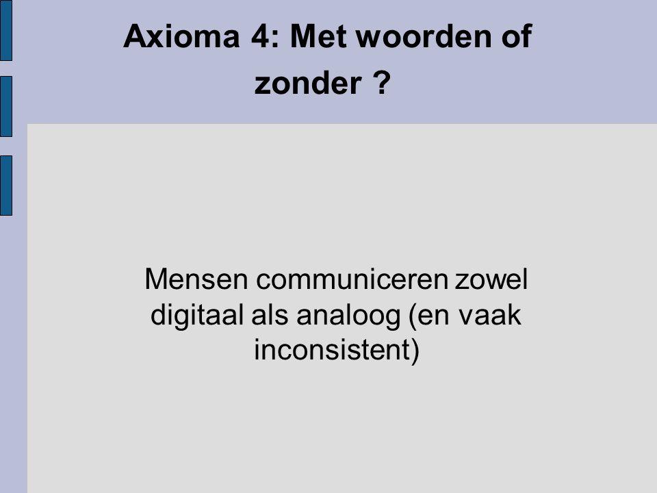 Axioma 4: Met woorden of zonder