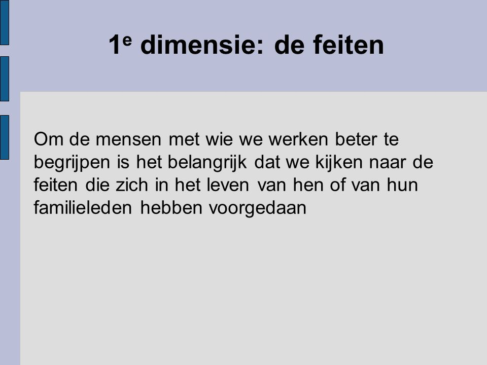 1e dimensie: de feiten