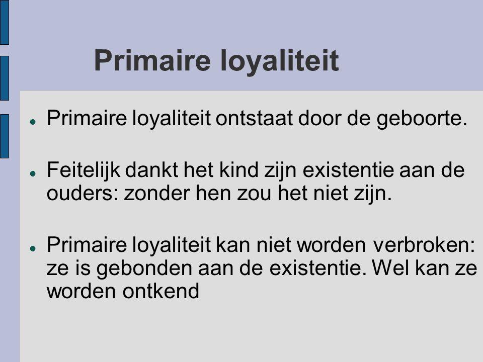 Primaire loyaliteit Primaire loyaliteit ontstaat door de geboorte.