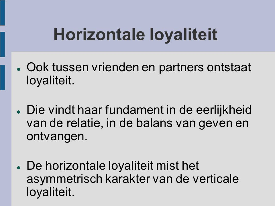 Horizontale loyaliteit