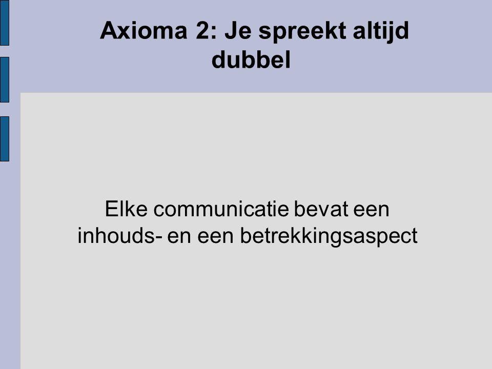 Axioma 2: Je spreekt altijd dubbel