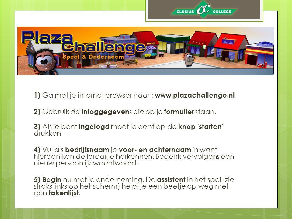 1) Ga met je internet browser naar : www. plazachallenge
