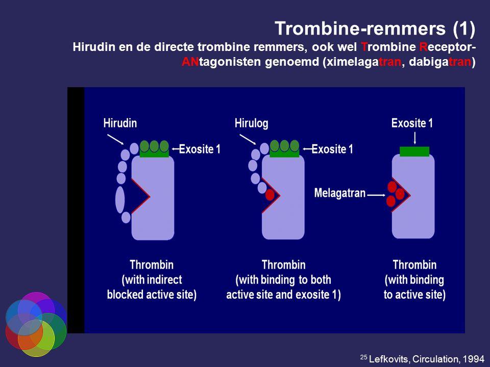 Trombine-remmers (1) Hirudin en de directe trombine remmers, ook wel Trombine Receptor-ANtagonisten genoemd (ximelagatran, dabigatran)