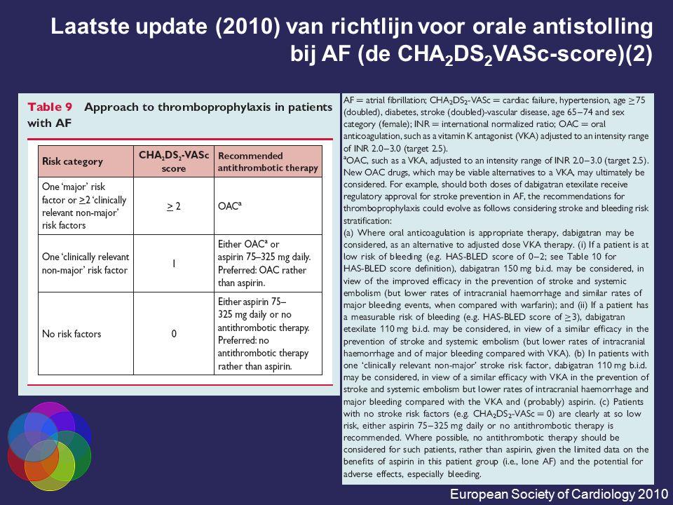 Laatste update (2010) van richtlijn voor orale antistolling bij AF (de CHA2DS2VASc-score)(2)