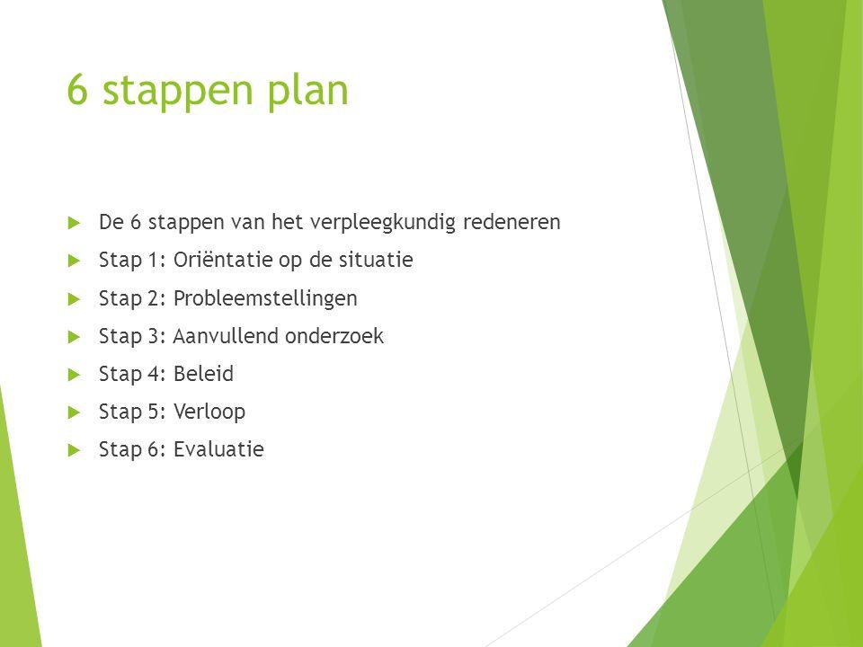 6 stappen plan De 6 stappen van het verpleegkundig redeneren